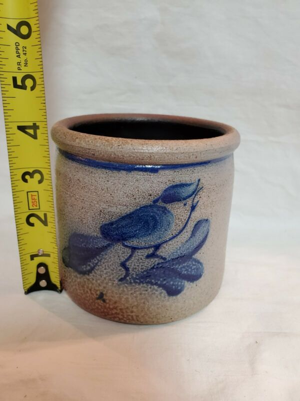 VINTAGE Rowe Pottery Salt glaze Stoneware Crock with Bird Design EUC