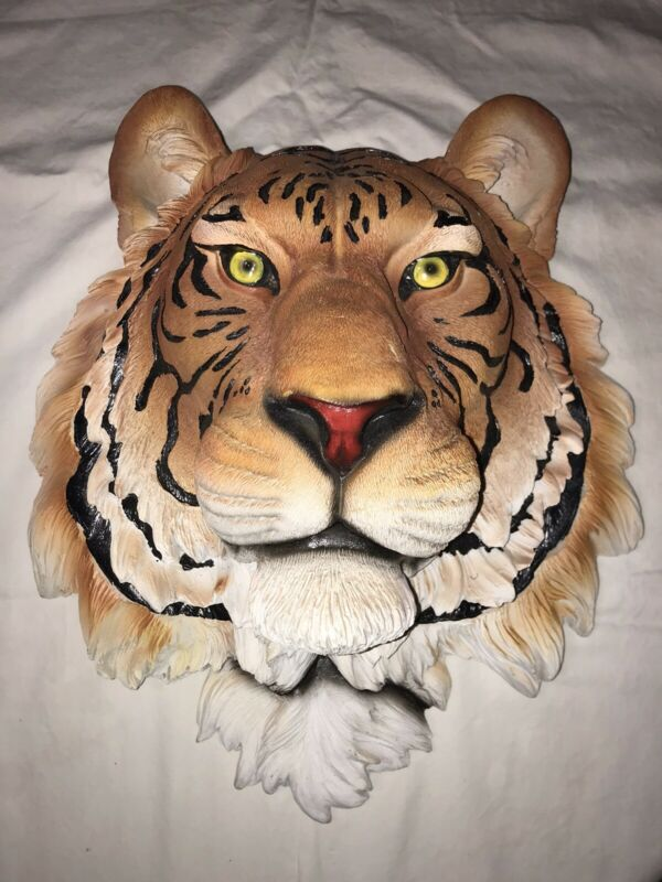 "3D Bengal Tiger Head Statue Bust 16"" High  Plaque Figurine Wall Mount"