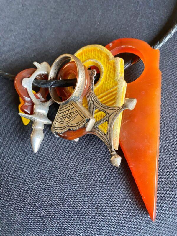 Tuareg Talhakimt Tanfouk Agate zinder cross & carnelian Tuareg ring necklace.