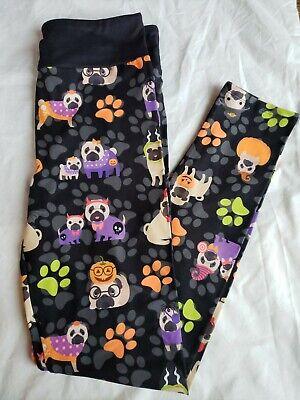 Halloween Pugs Dogs Paw Butter Soft Custom Legging OS NEW not Lularoe Yoga Band