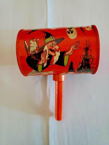 VINTAGE Halloween Noisemaker Tin Rattle U.S. Metal Toy Mfg. Co.