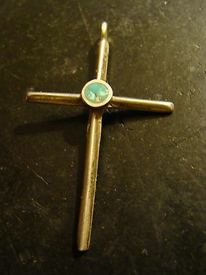 Beautiful Old Navajo Silver Turquoise Cross Pendant Carinated Ingot? Very Nice!