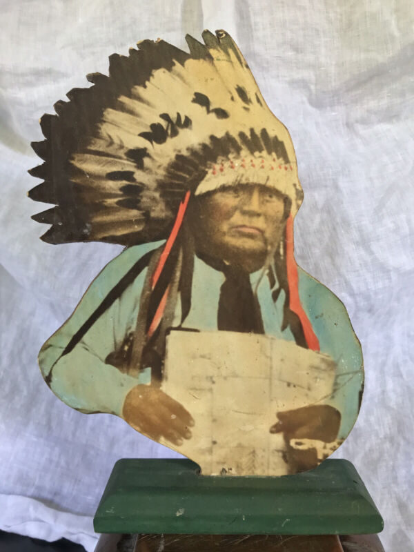 Rare Antique Native American Indian Big Head Cheyenne Photo on Wood Folk Art