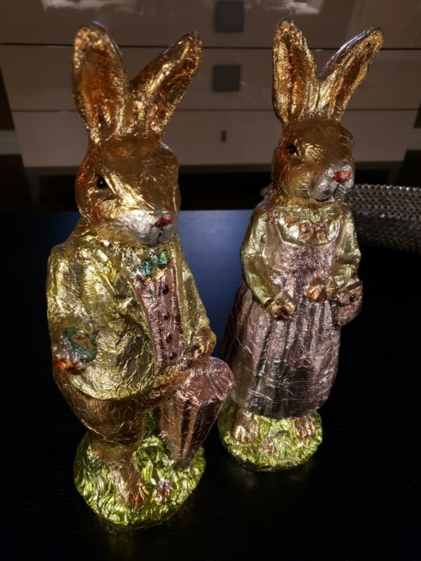 "Pair 14"" Bunny Rabbit Williams Sonoma Faux Wrapped Chocolate Aluminum Foil Decor"