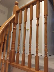 Solid oak post and 45 spindles