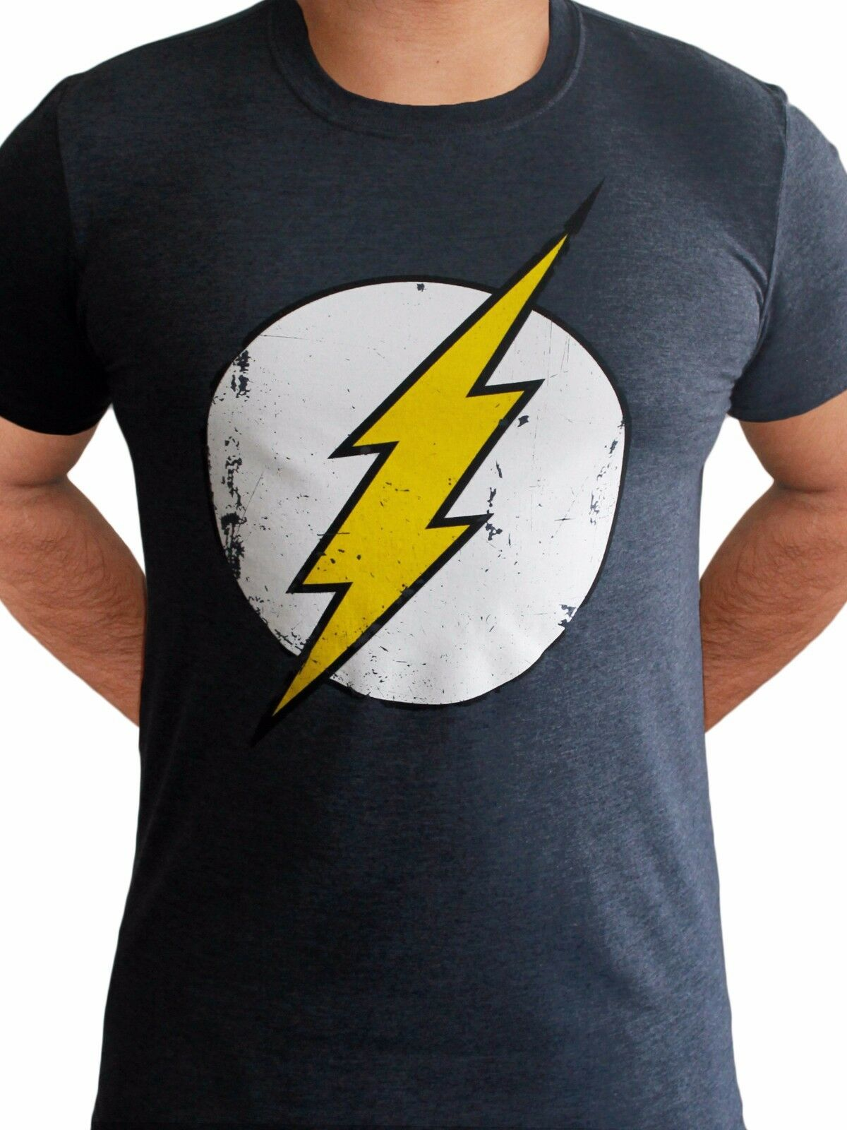 d6a9a19fe Details about The Flash Logo Classic Licensed Reverse Zoom TV DC Comics  Navy Blue Mens T-shirt