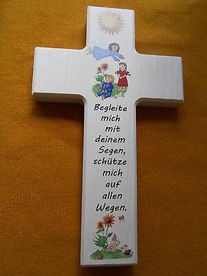 Kinderkreuz Holzkreuz Taufkreuz Wandkreuz Geschenk Motiv Sonne 20 x 12 cm