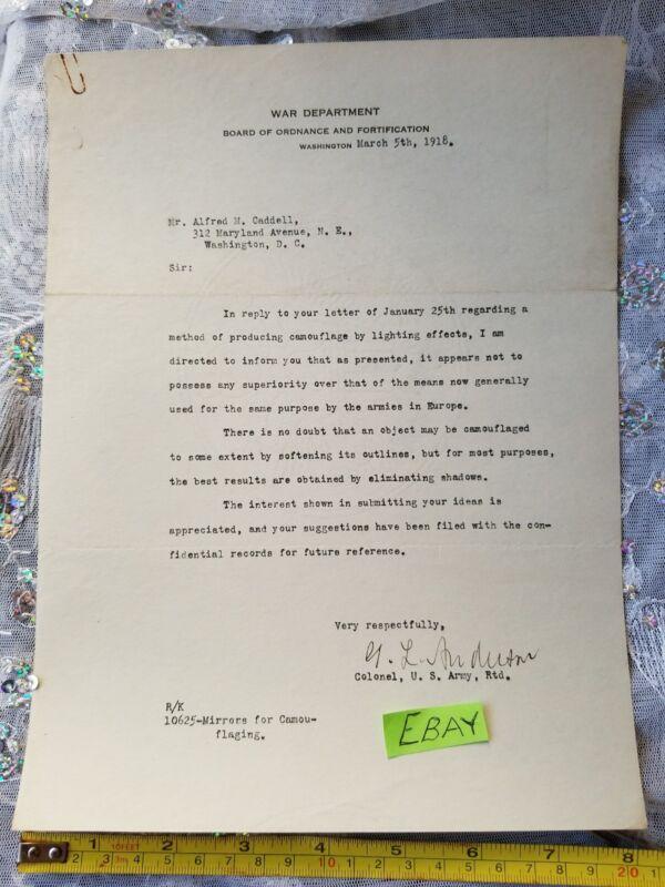 War Department World War 1 Letter