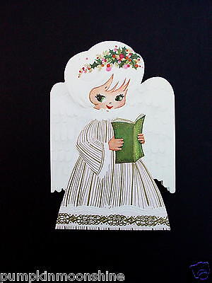 Unused Die Cut Xmas Greeting Card Sweet Angel with Green Eyes Golden Accents ()