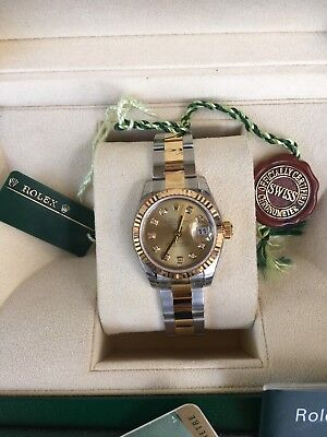 New ROLEX -26mm 18kt Gold & SS DateJust Factory Champagne Diamond Dial - 179163