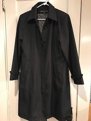 Anne Klein Quilted Lining Black Rain Trench Coat - Size 6 - Excellent Condition!