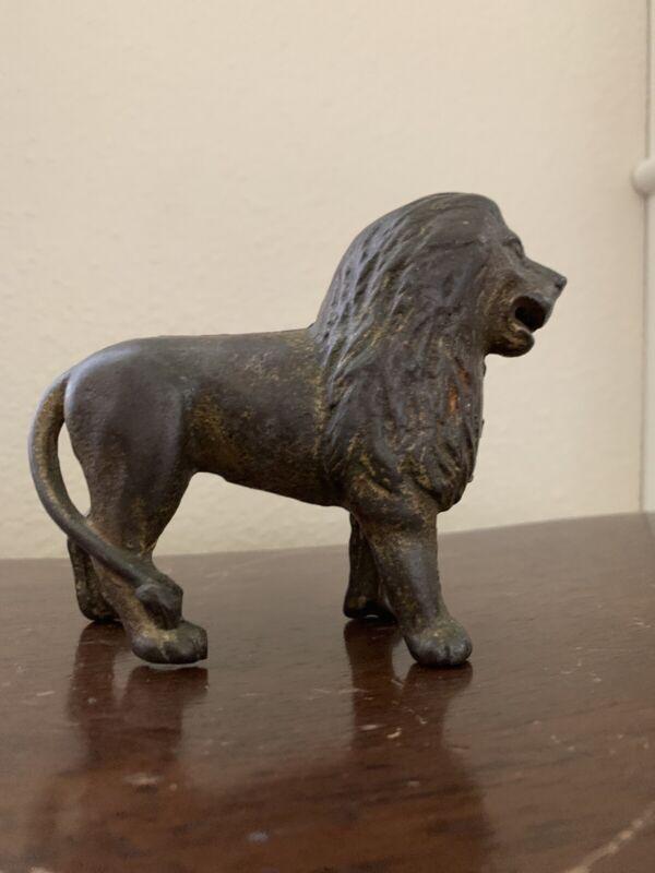 "Hubley Lion 5"" Vintage Cast Iron Coin Bank"