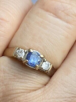 Vintage Hallmarked  Sapphire Diamonds Gold Ring -Uk Size O