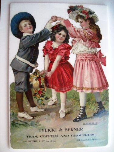 Charming Die Cut Victorian Trade Card w/ Children in 19th Century Clothes *