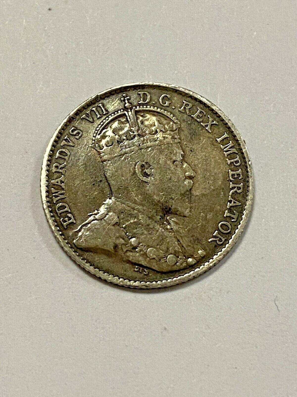 Canada 1910 5 Cent coin, Cross, HL, Very Slight Bend