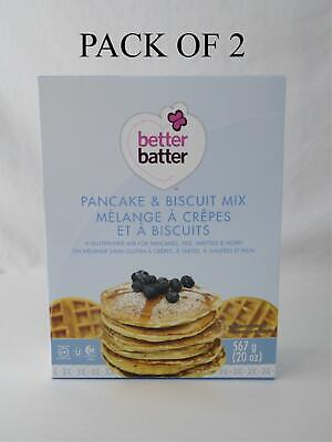 2 BOXES Better Batter Pancake & Biscuit Mix 20 oz Gluten Free New In (Best Waffle Batter Mix)