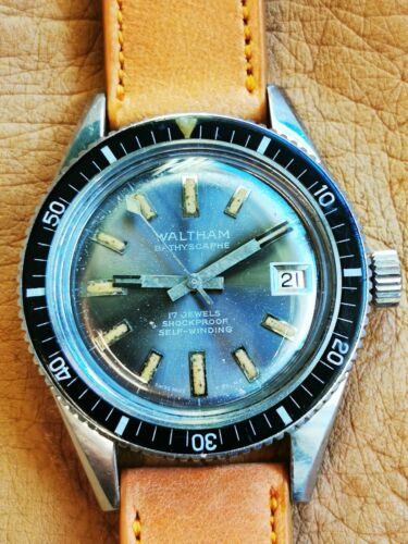 Waltham Blancpain Bathyscaphe Diver Men's Wristwatch Vintage Swiss - watch picture 1