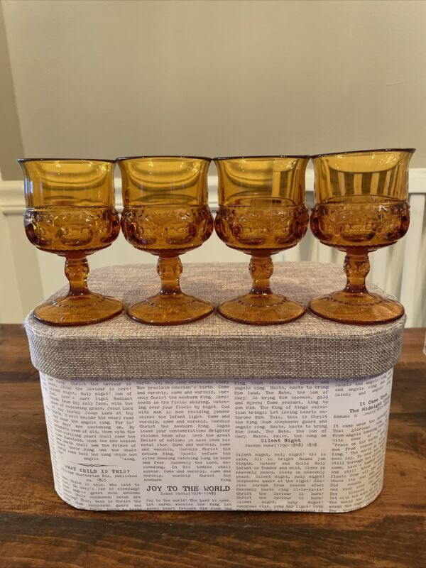 """Vintage Indiana Glass Kings Crown Wine Goblets Amber Thumbprint 4.25"""" set of 4"""