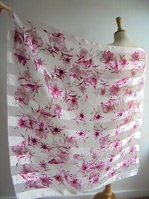JEAN-LOUIS SCHERRER Pink Floral Stripe Head Scarf Square