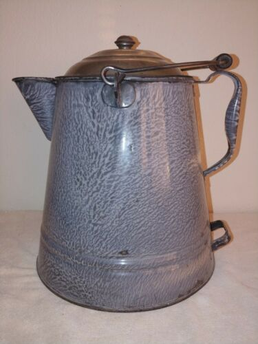 Antique Granite Enamel Ware Extra Large Cowboy Coffee Pot With Lid