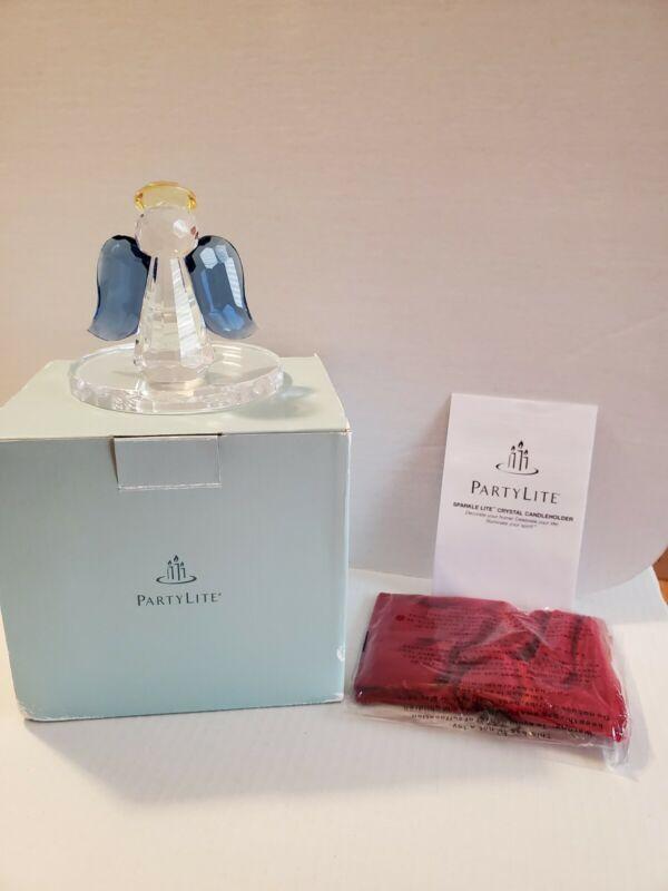 """Sparkle Lite Crystal Angel"" PartyLite Candles Blue Tealight Holder- New, P9773"