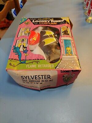 RARE Vintage Looney Tunes Sylvester the Cat Collegeville Boxed Halloween Costume