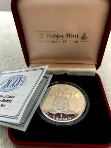 1993 Gibraltar- Large Silver Proof  1 Crown - Peter Rabbit , Box & COA.