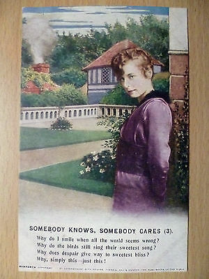 WW1 Military Bamforth Song Postcard: Somebody Knows, Somebody Cares (3)