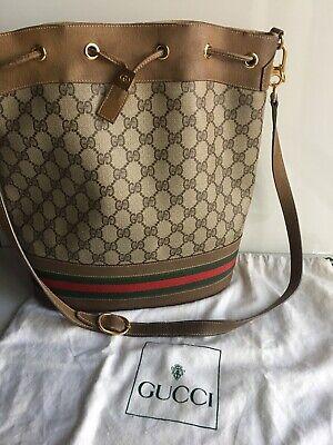 Vintage Gucci Ophida Bucket Bag Monogram Shoulder Drawstring With Dust Bag