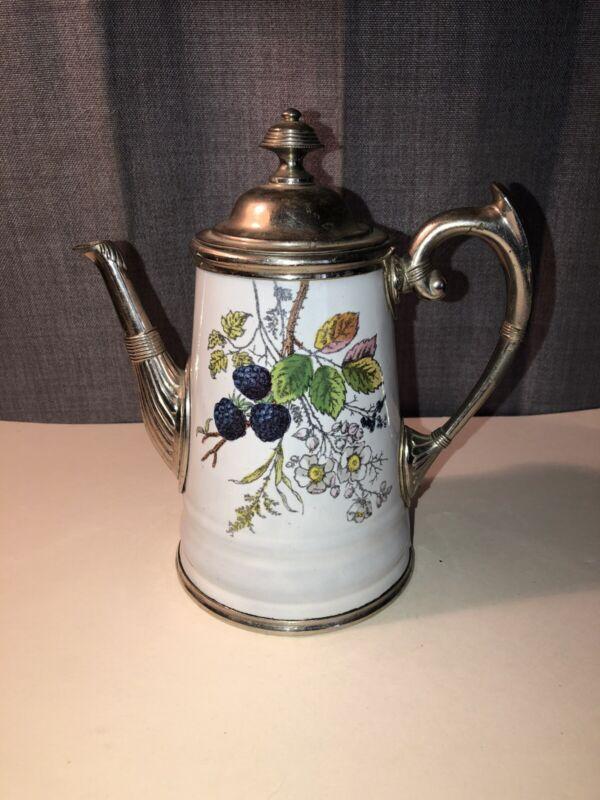 Antique Enamel Silver Plate Coffee Pot w/Blackberries, Blossoms, Leaves
