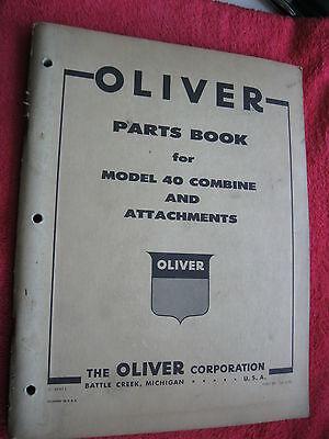 Original 1958 Oliver Model 40 Combine Attachments Parts Book Manual Catalog