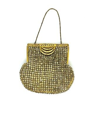 1950s Handbags, Purses, and Evening Bag Styles Vintage Rhinestone Evening Purse with Fold Over Clasp - Walborg Oroton? $18.72 AT vintagedancer.com