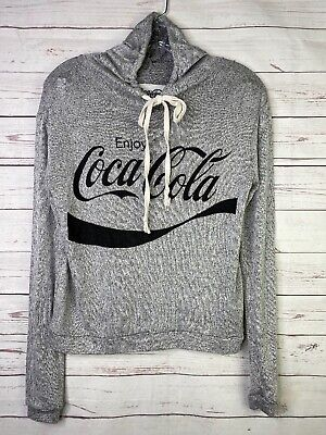 Coca Cola Gray Black Knit Lightweight Stretch Drawstring Hoodie Women's Sz XS