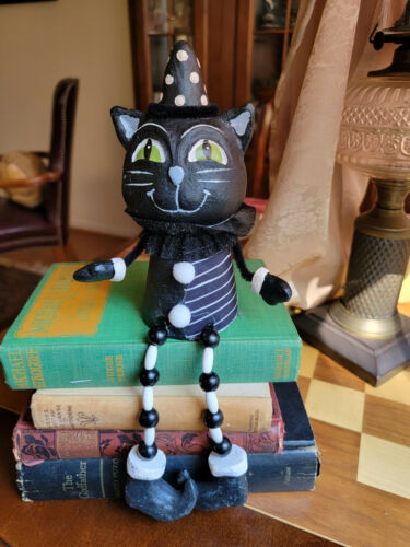 HALLOWEEN Cat Witch Black Hand-painted Wood Dangling Legs