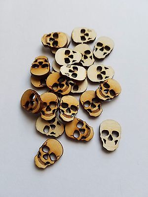 Set of 24 Small Wooden Skull Cut Outs ( Steam Punk Style, Buttons, Scrap Book )  Small Circle Cut Outs