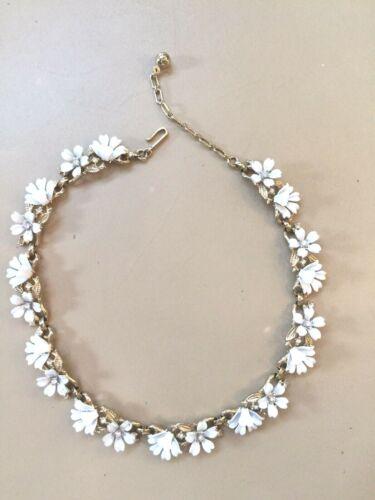 Vintage CROWN TRIFARI White Enamel & Rhinestone Flowers Necklace