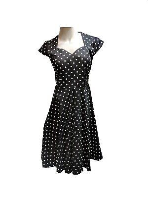 Vintage 50's Polka Dot Audrey Hepburn Style Women's Juniors/Petite Dress Black L ()