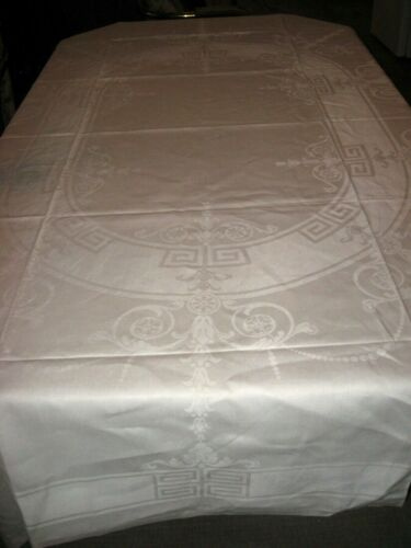Vintage Irish Linen Damask Tablecloth w/ Pearls, Scroll Leaf, Flowers, Geo - 89""