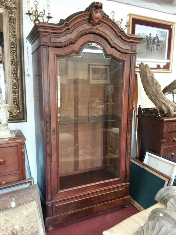Antique French Single Door Burled Figured Walnut Armoire with Beveled Glass