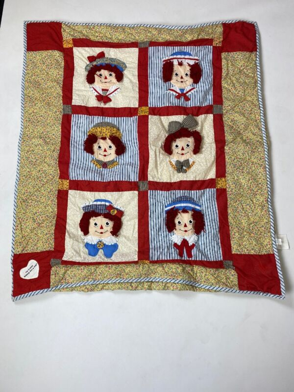 """3D Raggedy Ann and Andy Quilt  52"""" x 44"""" Gently Used"""