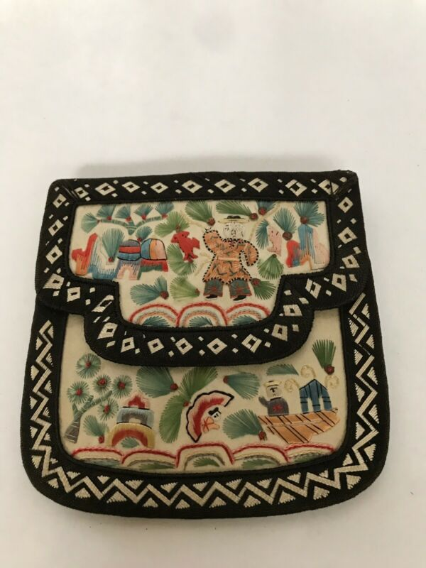 Antique Chinese Qing Dynasty Embroidered Purse with Garden Scene