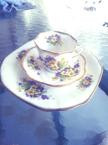 Rosina Cup, Saucer & Dessert Plate Green Flowers Bone China Trio