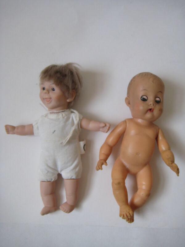 Lot 2 Vintage Baby DOLLS drinking wetting sleepy eyes rubber boy girl brown hair