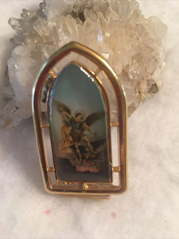 Archangel Michael Italian Religious Mini Standing Picture Plaque Gold Finish