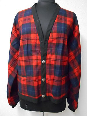Vintage Pendleton Grandpa Wool Cardigan Red Tartan Plaid Men's Medium Hipster