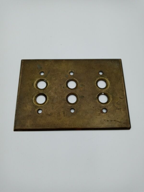 Vintage Brass Electrical Plate (3 Gang 2 Push Button Switch)