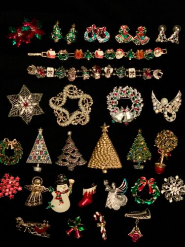 50+ Piece Vintage to Now Mixed Jewelry Lot - Christmas - Holiday - Santa - Angel