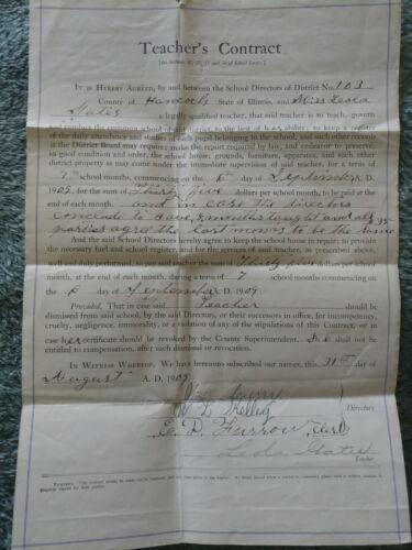 Antique 1909 School Teachers Contract - Hancock County Illinois