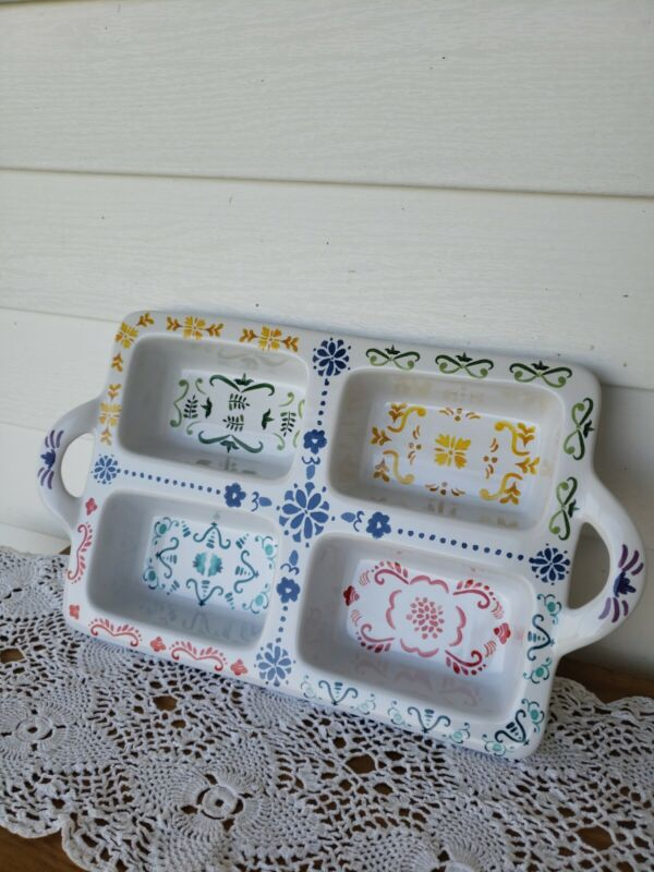 Nordic Ware Ceramic Collection Scandinavian Design 4 Mini Loaf Baking Dish NWOT