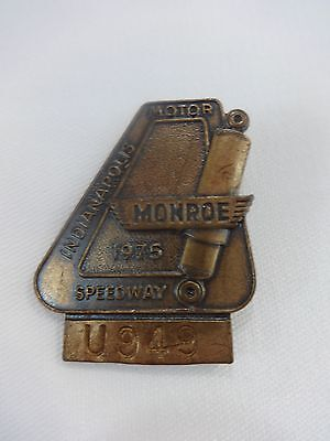 1975 Indy 500 Bronze Pit Badge Bobby Unser Dan Gurney's All American Racer Eagle Indy 500 Racers